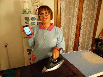 Gabriella in Italy - listening while doing the housework