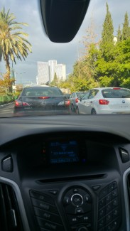 Yaron Aharonov in a traffic jam in Israel