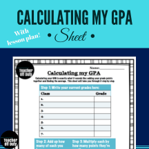 Make students self-sufficient in calculating their GPA with this organizer. Easy to follow, step-by-step organizer to help students calculate their GPA on their own.