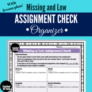 Have any students who could use some help getting caught up on assignments? This is an organizer I found myself CONSTANTLY making for students, so I decided to make a nice one to start handing out.