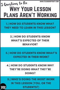 The questions most #newteachers forget to ask themselves that cause lessons to flop. Each help you communicate the game plan to your students and enlist them in making the lesson and their learning ROCK. Pin this and print it out to help you remember to ask yourself these each time you plan. #lessonplanning