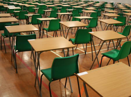 lined up desks