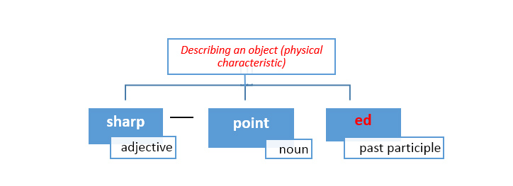Use adj+noun+ed to describe physical characteristic objects