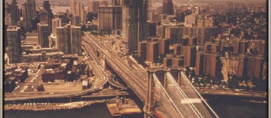 Old New York City photograph with Brooklyn bridge
