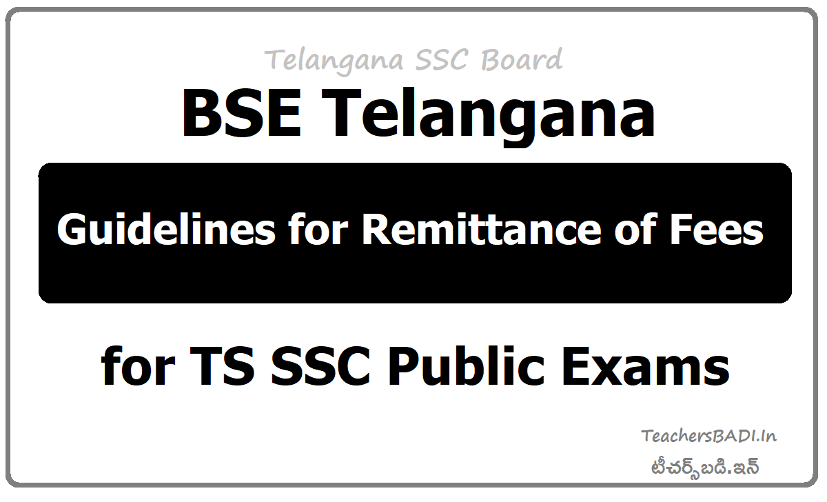 Guidelines for Remittance of Fees for TS SSC 2020 Public Exams