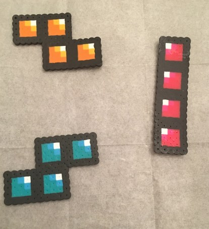 Perler Bead Tetris Bricks Patterns, ironed