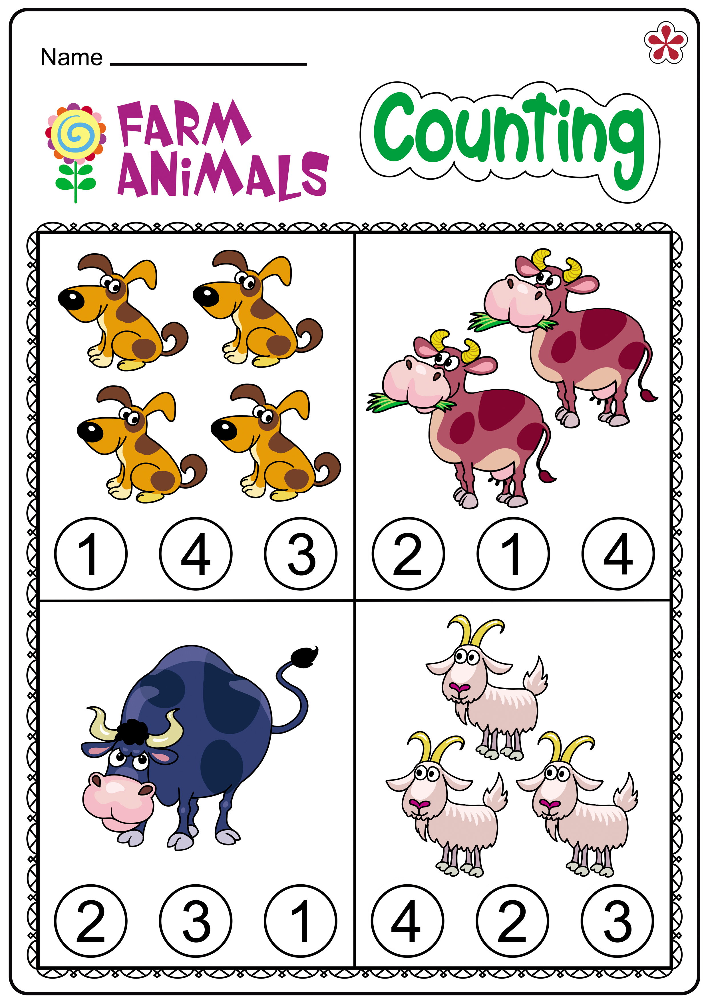 Farm Themed Math Worksheets For Kindergartners