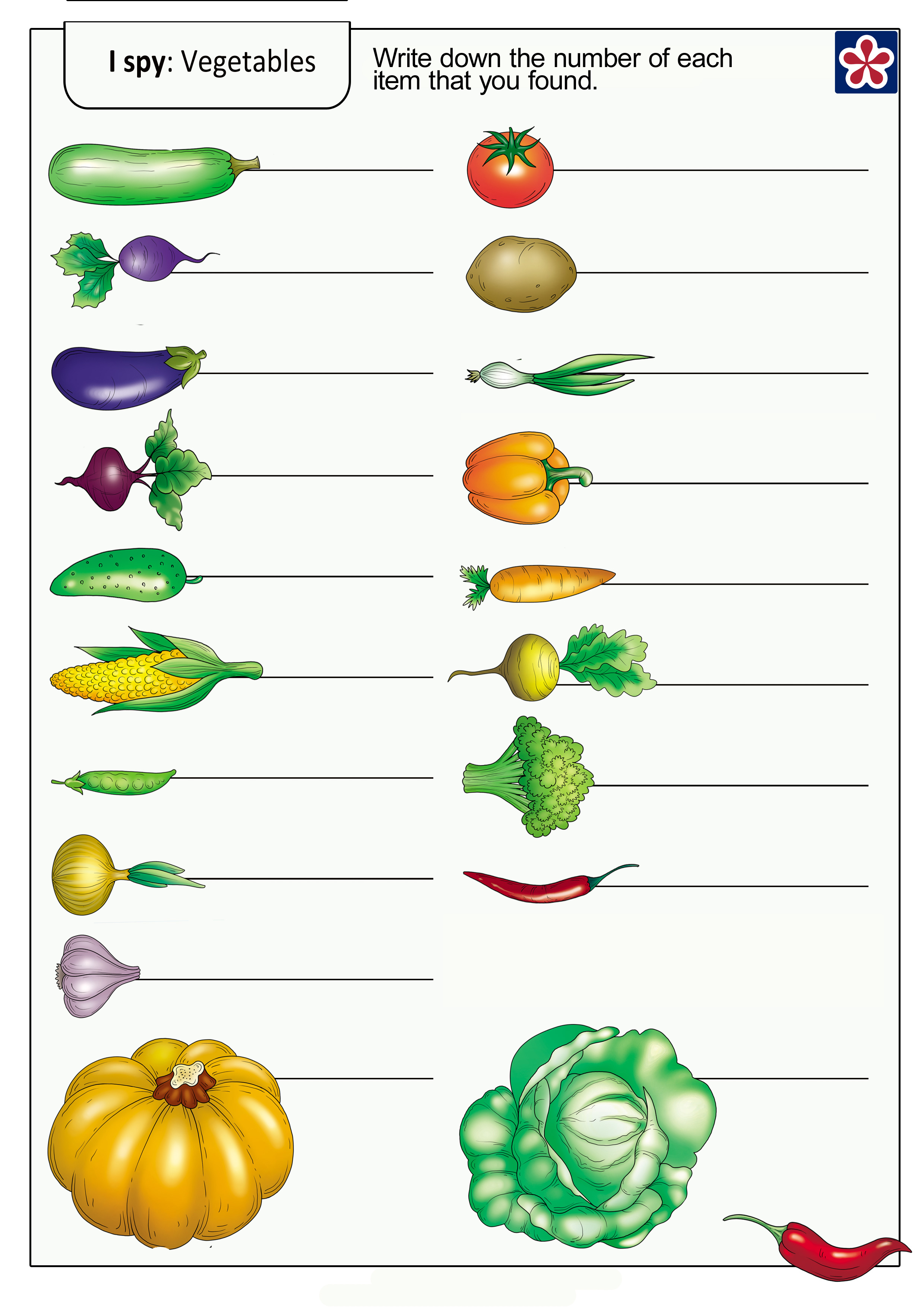 I Spy Game Vegetables Worksheets For Preschoolers