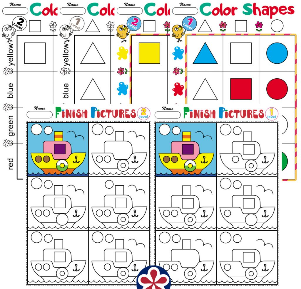 Logic Worksheets With Shapes For Kindergarten Students