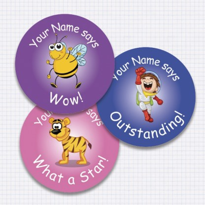 25mm assorted theme personalised sticker preview