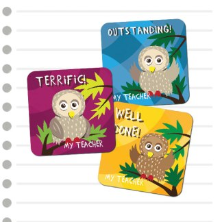 25mm Square Owl Stickers