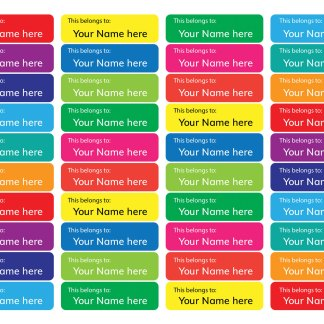 Name labels - Rainbow background