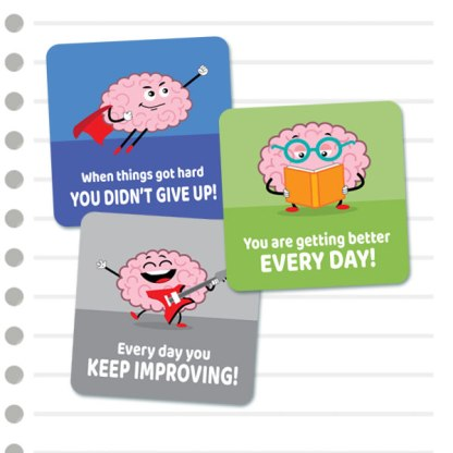 Square Growth Mindset cute brains from Teacher Stickers