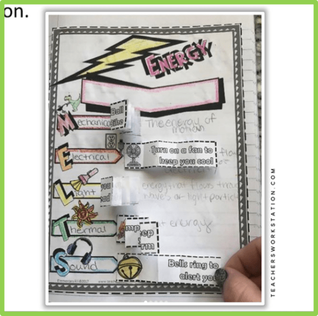 5th grade forms of energy interactive science notebook