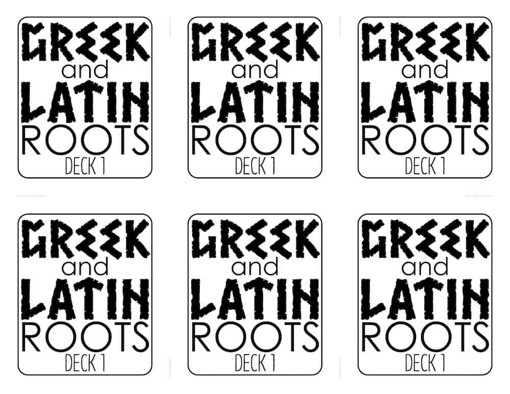 Greek and Latin Roots Card Game • Teacher Thrive