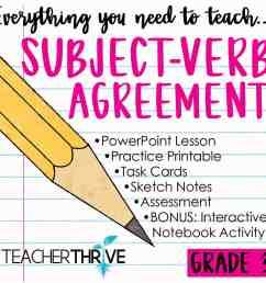 Third Grade Grammar: Subject Verb Agreement • Teacher Thrive [ 1276 x 1276 Pixel ]