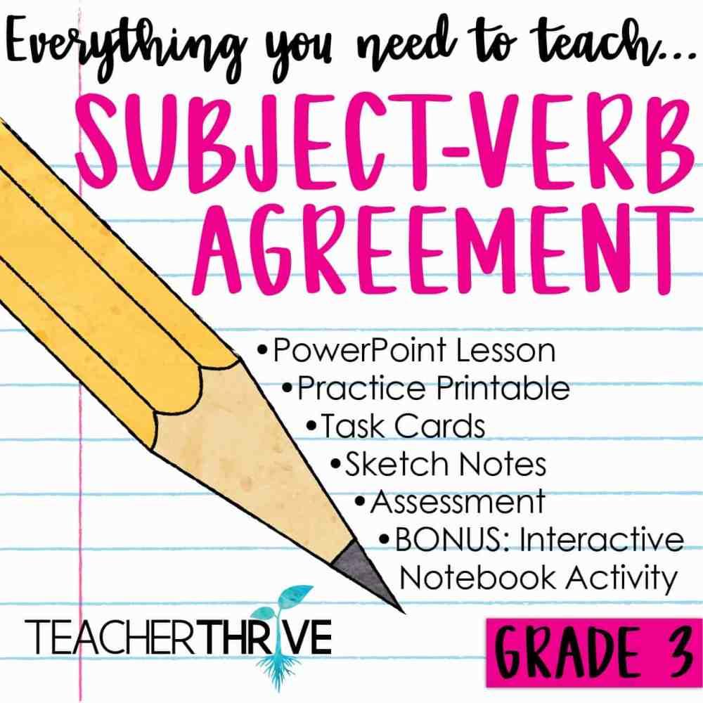 medium resolution of Third Grade Grammar: Subject Verb Agreement • Teacher Thrive