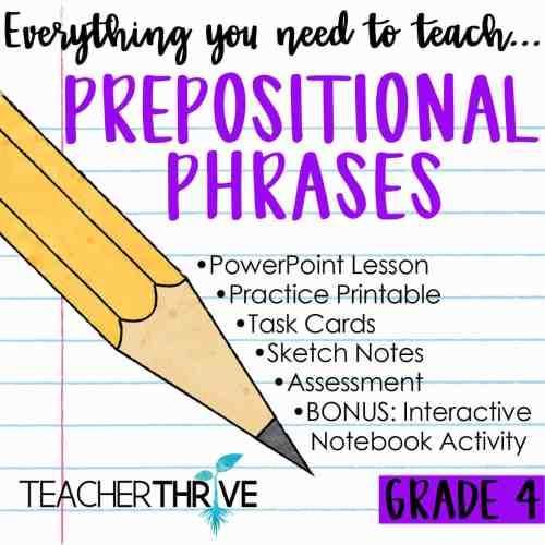 small resolution of Fourth Grade Grammar: Prepositional Phrases • Teacher Thrive