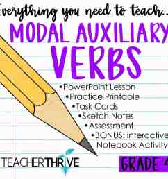Fourth Grade Grammar: Modal Auxiliary Verbs (Helping Verbs) • Teacher Thrive [ 1276 x 1276 Pixel ]