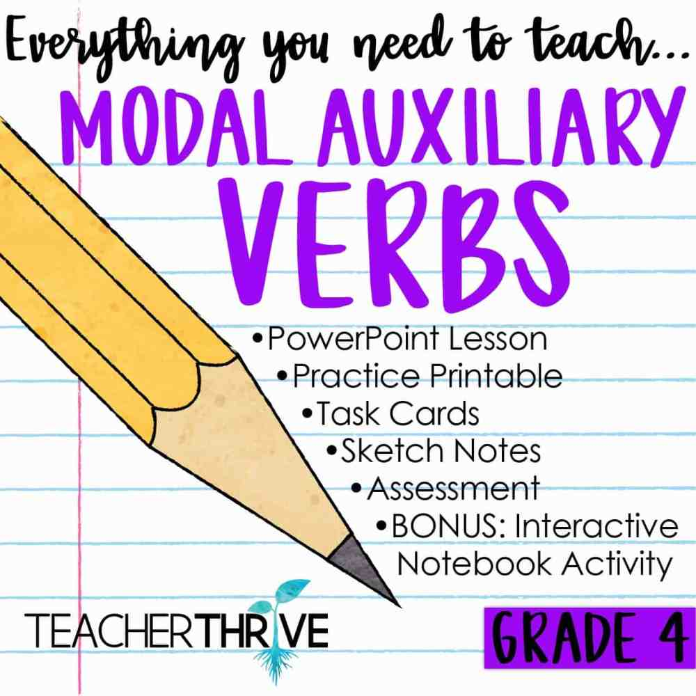 medium resolution of Fourth Grade Grammar: Modal Auxiliary Verbs (Helping Verbs) • Teacher Thrive