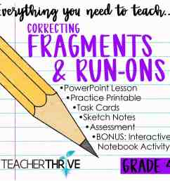 Fourth Grade Grammar: Correcting Fragments and Run-ons • Teacher Thrive [ 1276 x 1276 Pixel ]