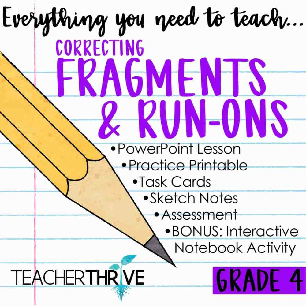 medium resolution of Fourth Grade Grammar: Correcting Fragments and Run-ons • Teacher Thrive