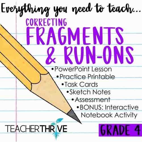 small resolution of Fourth Grade Grammar: Correcting Fragments and Run-ons • Teacher Thrive