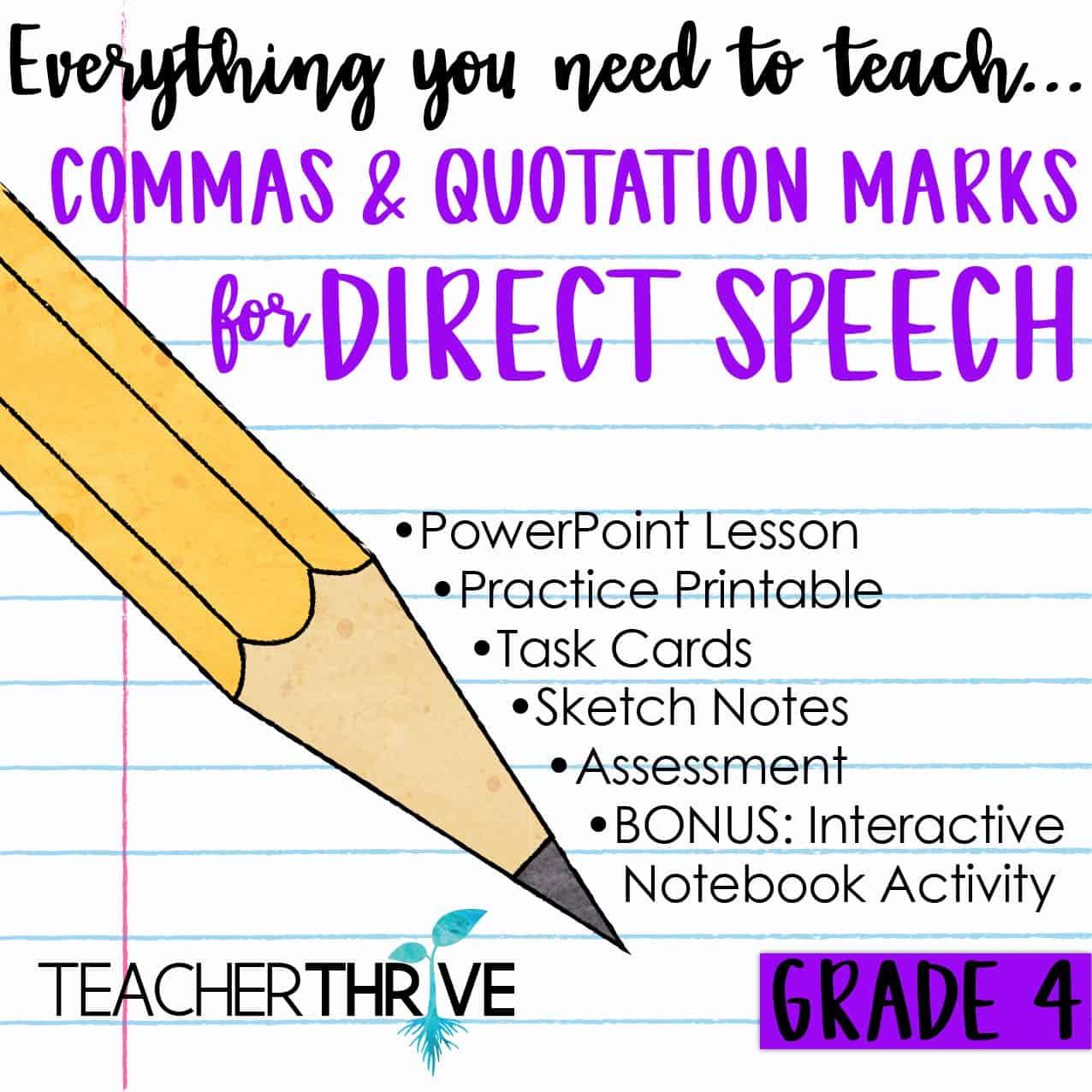 hight resolution of Fourth Grade Grammar: Commas \u0026 Quotations for Direct Speech • Teacher Thrive