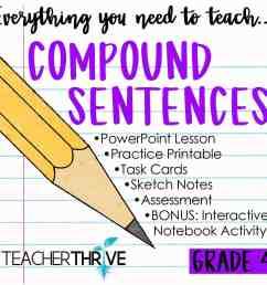Fourth Grade Grammar: Compound Sentences and Coordinating Conjunctions •  Teacher Thrive [ 1276 x 1276 Pixel ]