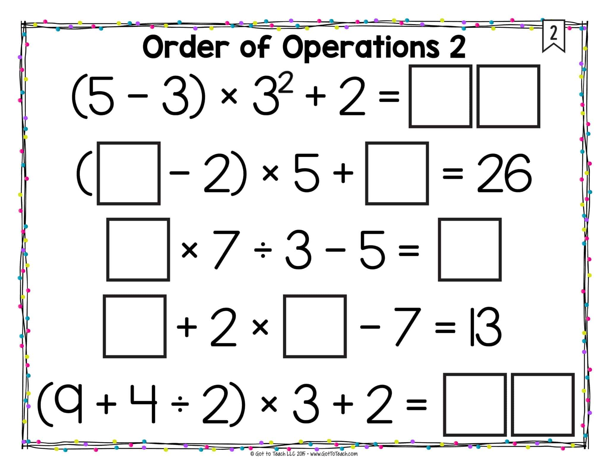 Math Tiles: Order of Operations (With Exponents) • Teacher