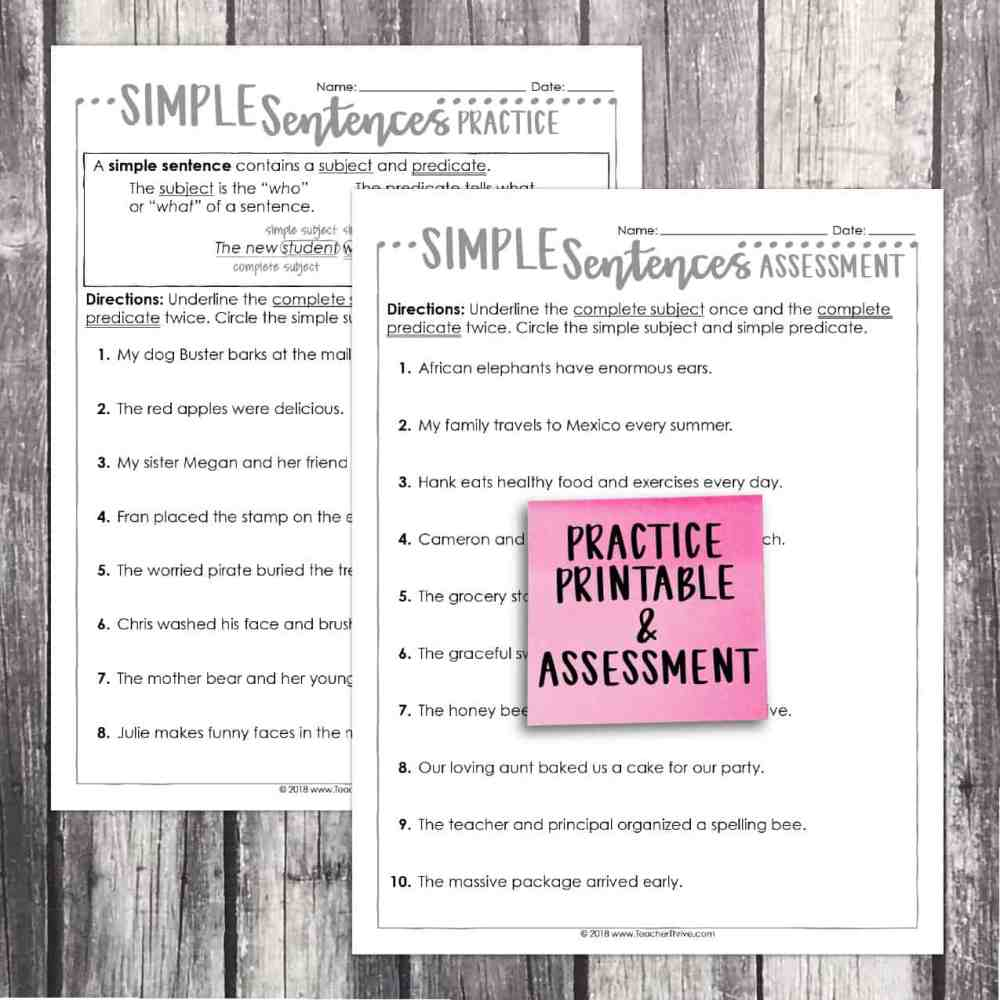 medium resolution of Third Grade Grammar: Simple Sentences • Teacher Thrive