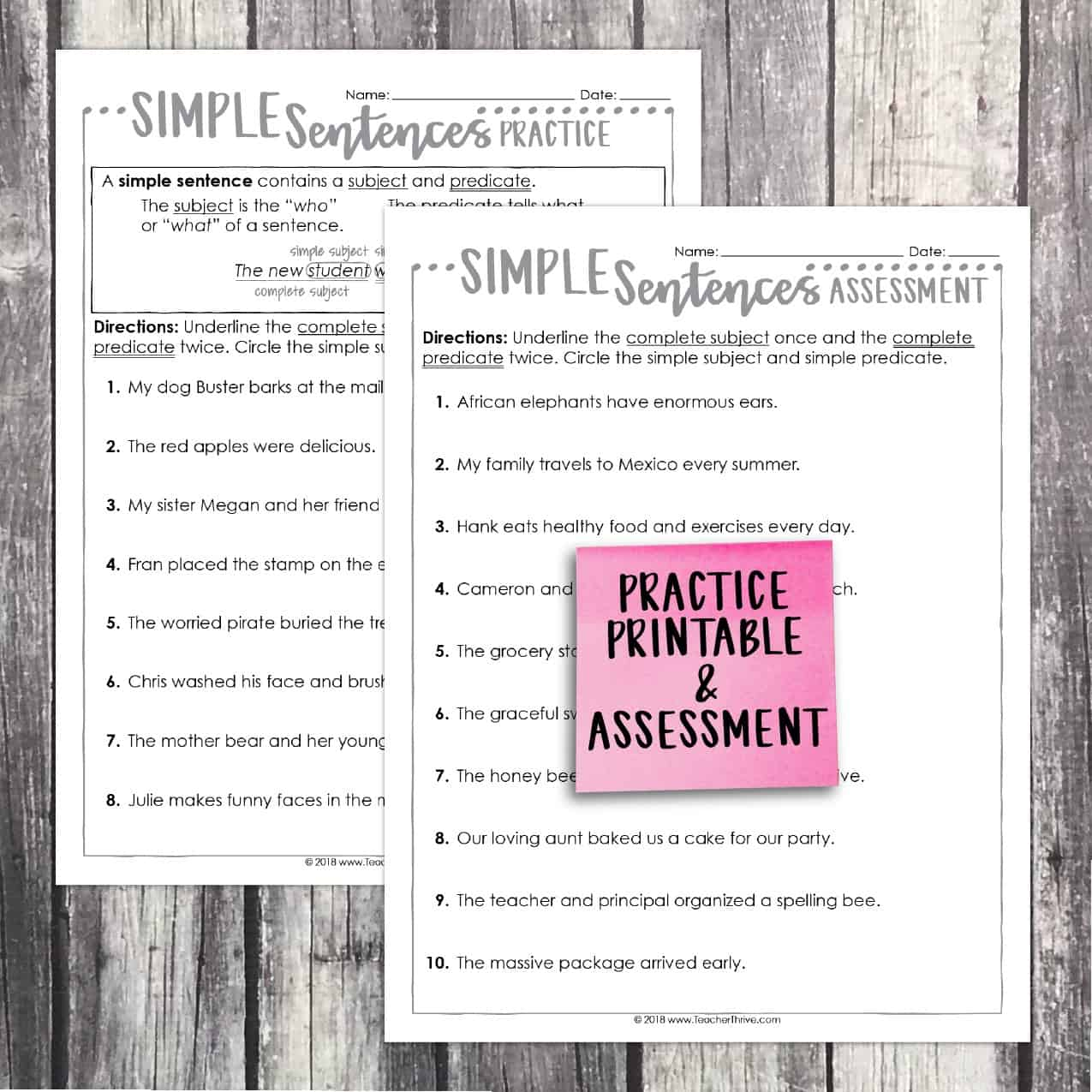 hight resolution of Third Grade Grammar: Simple Sentences • Teacher Thrive