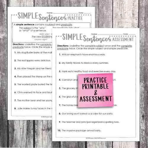small resolution of Third Grade Grammar: Simple Sentences • Teacher Thrive