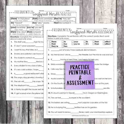 small resolution of FREE! Fourth Grade Grammar: Frequently Confused Words • Teacher Thrive