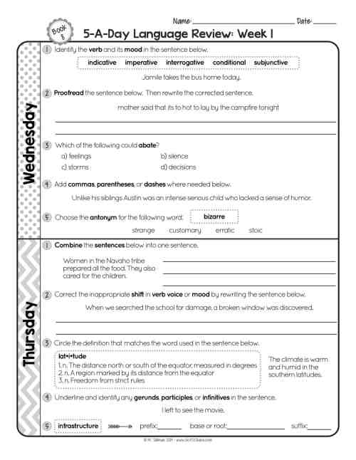 small resolution of 8th Grade Daily Language Spiral Review • Teacher Thrive