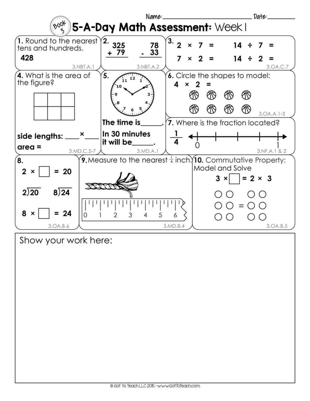 medium resolution of 3rd Grade Weekly Math Assessments • Teacher Thrive