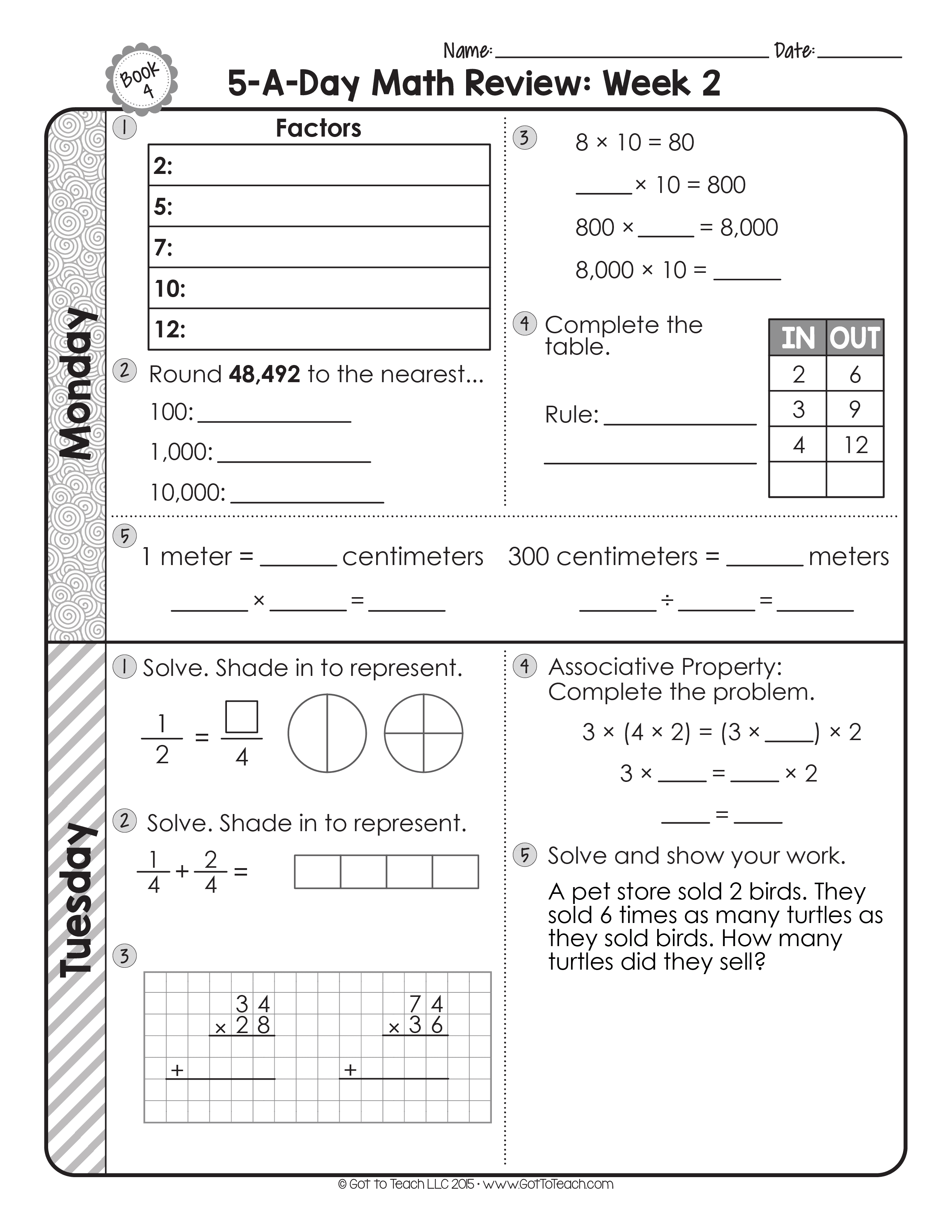 4th grade daily math spiral review teacher thrive. Black Bedroom Furniture Sets. Home Design Ideas