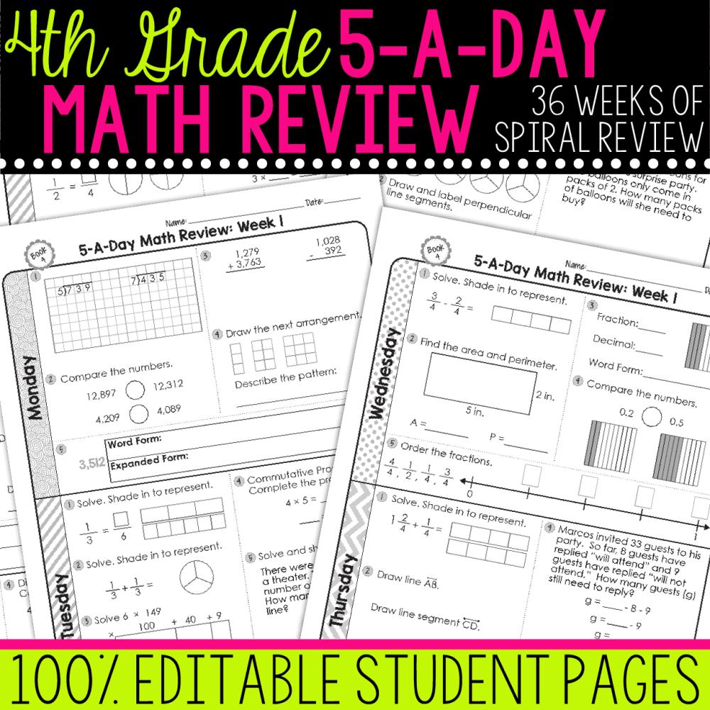 medium resolution of 4th Grade Daily Math Spiral Review • Teacher Thrive