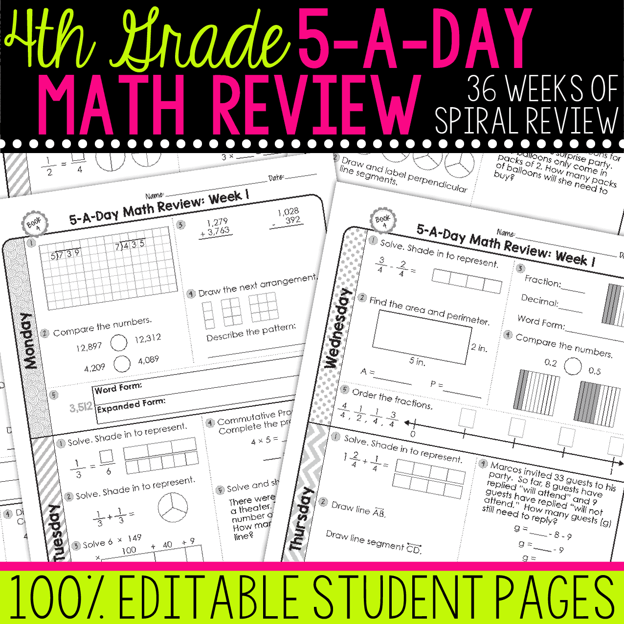 hight resolution of 4th Grade Daily Math Spiral Review • Teacher Thrive