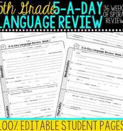 5th Grade Daily Language Spiral Review • Teacher Thrive [ 1000 x 1000 Pixel ]