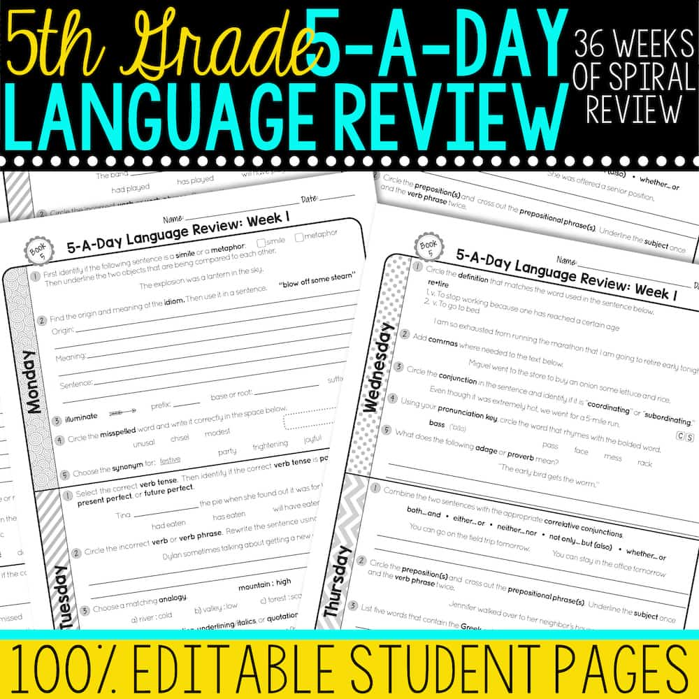 hight resolution of 5th Grade Daily Language Spiral Review • Teacher Thrive