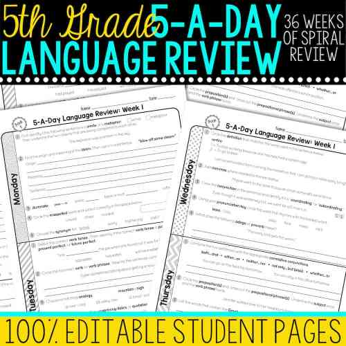 small resolution of 5th Grade Daily Language Spiral Review • Teacher Thrive