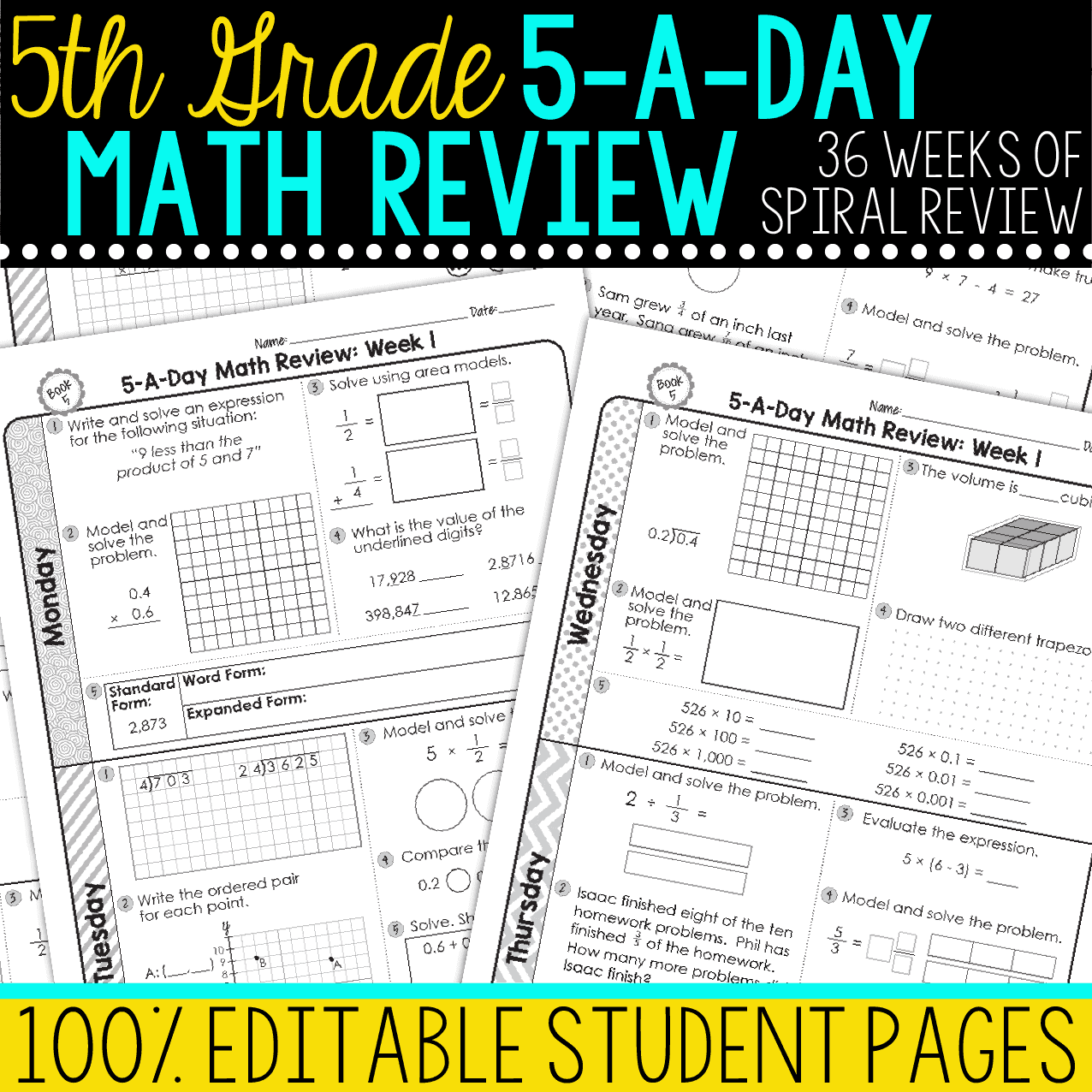 hight resolution of 5th Grade Daily Math Spiral Review • Teacher Thrive