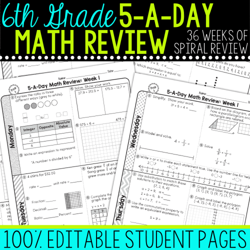 small resolution of 6th Grade Daily Math Spiral Review • Teacher Thrive