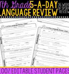 7th Grade Daily Language Spiral Review • Teacher Thrive [ 1000 x 1000 Pixel ]