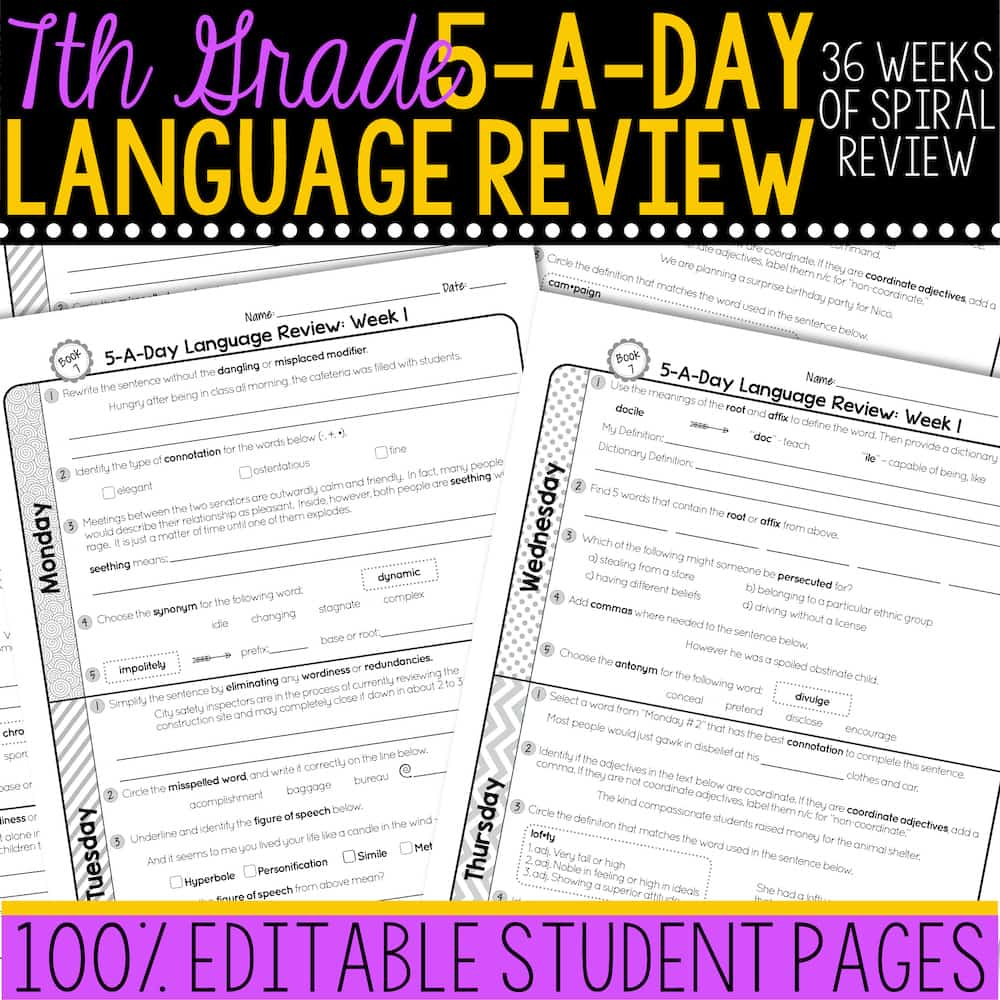 hight resolution of 7th Grade Daily Language Spiral Review • Teacher Thrive