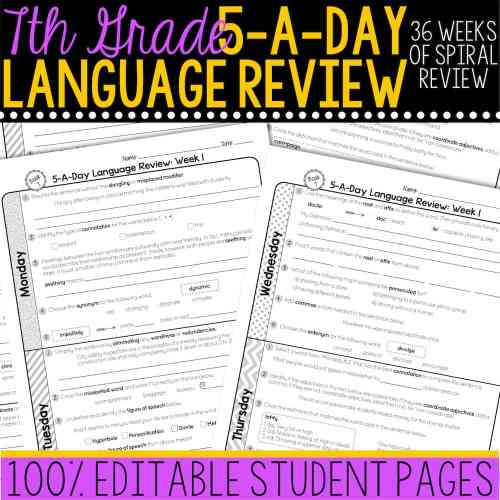 small resolution of 7th Grade Daily Language Spiral Review • Teacher Thrive