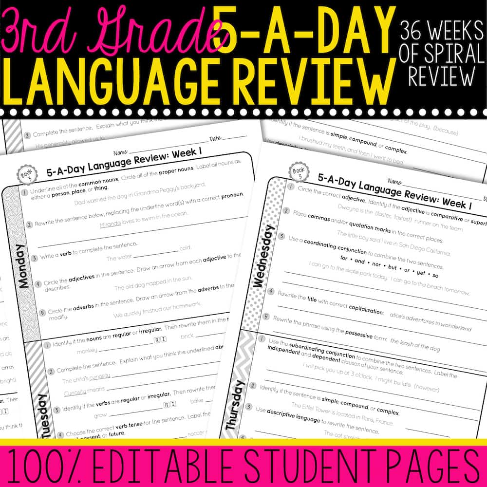 hight resolution of 3rd Grade Daily Language Spiral Review • Teacher Thrive