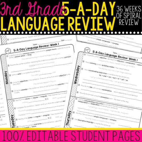 small resolution of 3rd Grade Daily Language Spiral Review • Teacher Thrive