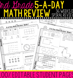 3rd Grade Daily Math Spiral Review • Teacher Thrive [ 1000 x 1000 Pixel ]